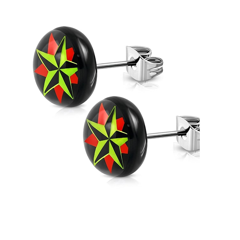 Stainless Steel 4 Color Nautical Star Circle Stud Earrings pair