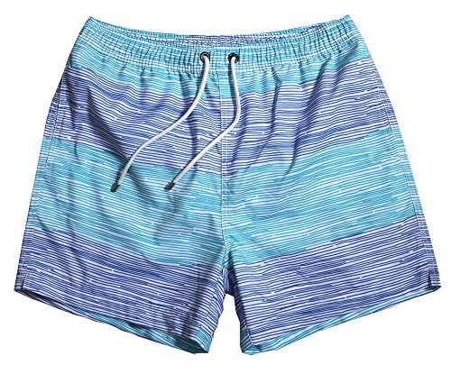 WUAMBO Athletic Men's Surf Runner Volley Swim Short, #17 Blue, Tag X-Large (Waist:31