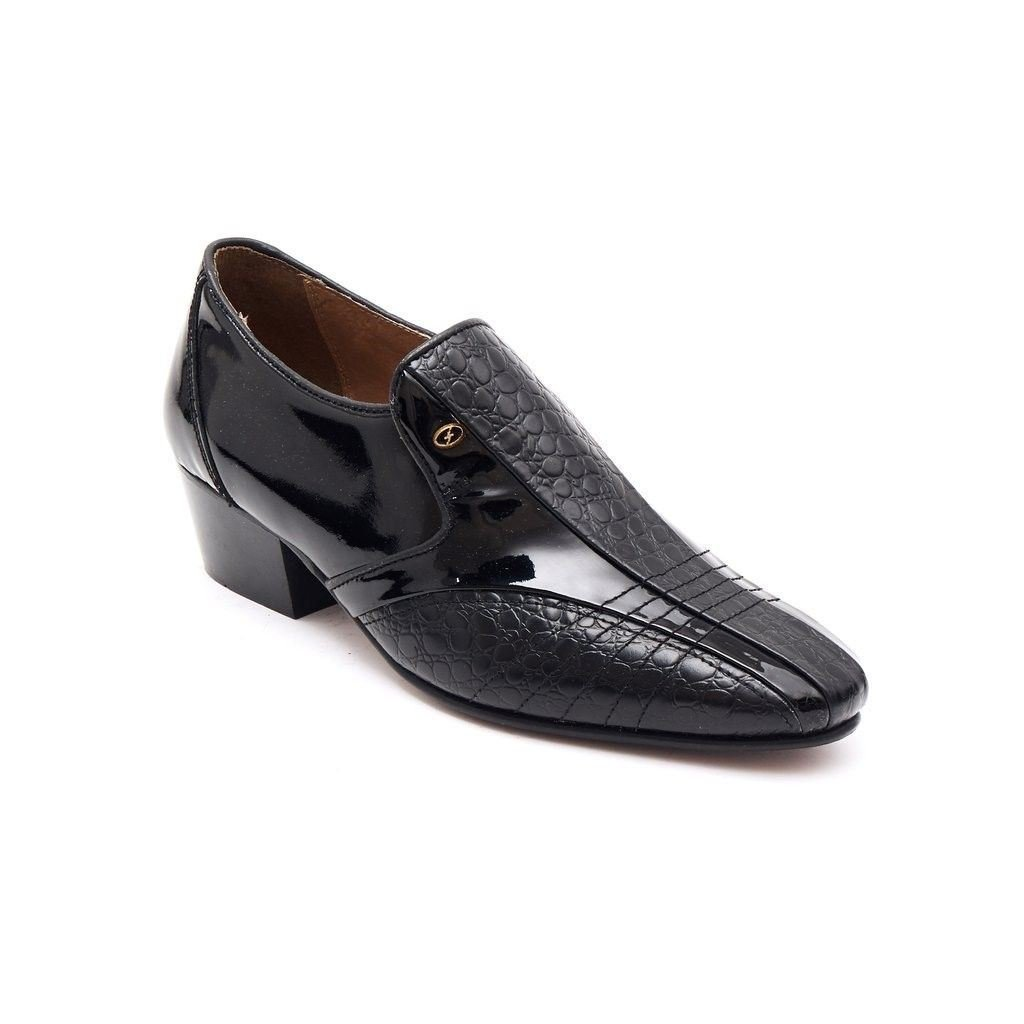 65660535807a8 Lucini Mens Formal Cuban Heels Croc Leather Slip On Wedding Shoes Black  Patent  Amazon.co.uk  Shoes   Bags