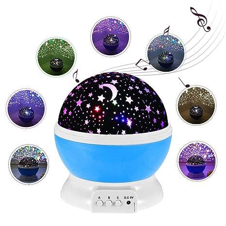 Cokeymove Música lampara proyector estrellas 360 grados rotación con led pantalla, Romántica Lámpara de Noche para niños, Bebés, Regalos de navidad, ...