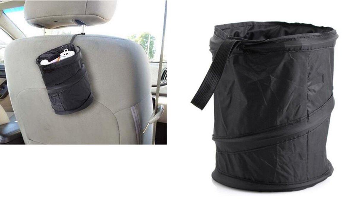 1Pcs Car Garbage Bin Car Garbage Can Holder Car Backseat Trash Garbage Storage Bag Vehicle Headrest Hanging Trash Waste Litter Can (Black) by Elandy