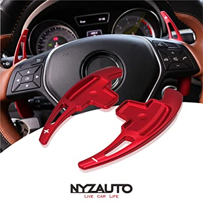 NYZAUTO Aluminum-Alloy Steering Wheel Paddle Shifter Extension Fit For Mercedes Benz A B E GLA GLK SLK M GL Class(Model A-Red): Automotive