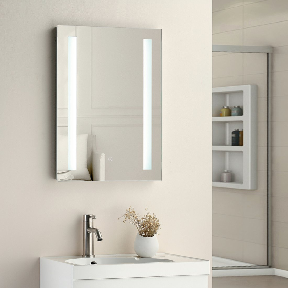 "SUNNY SHOWER 19"" W x 27"" H Backlit Led Bathroom Vanity Sink Silvered 4mm Mirror with Touch Button"
