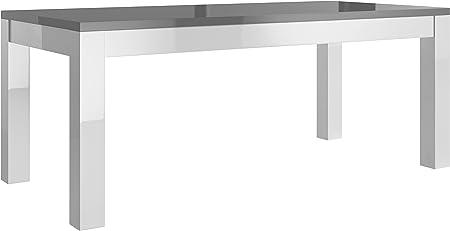 Table salle à manger 190cm blanc et gris laqué: Amazon.fr ...