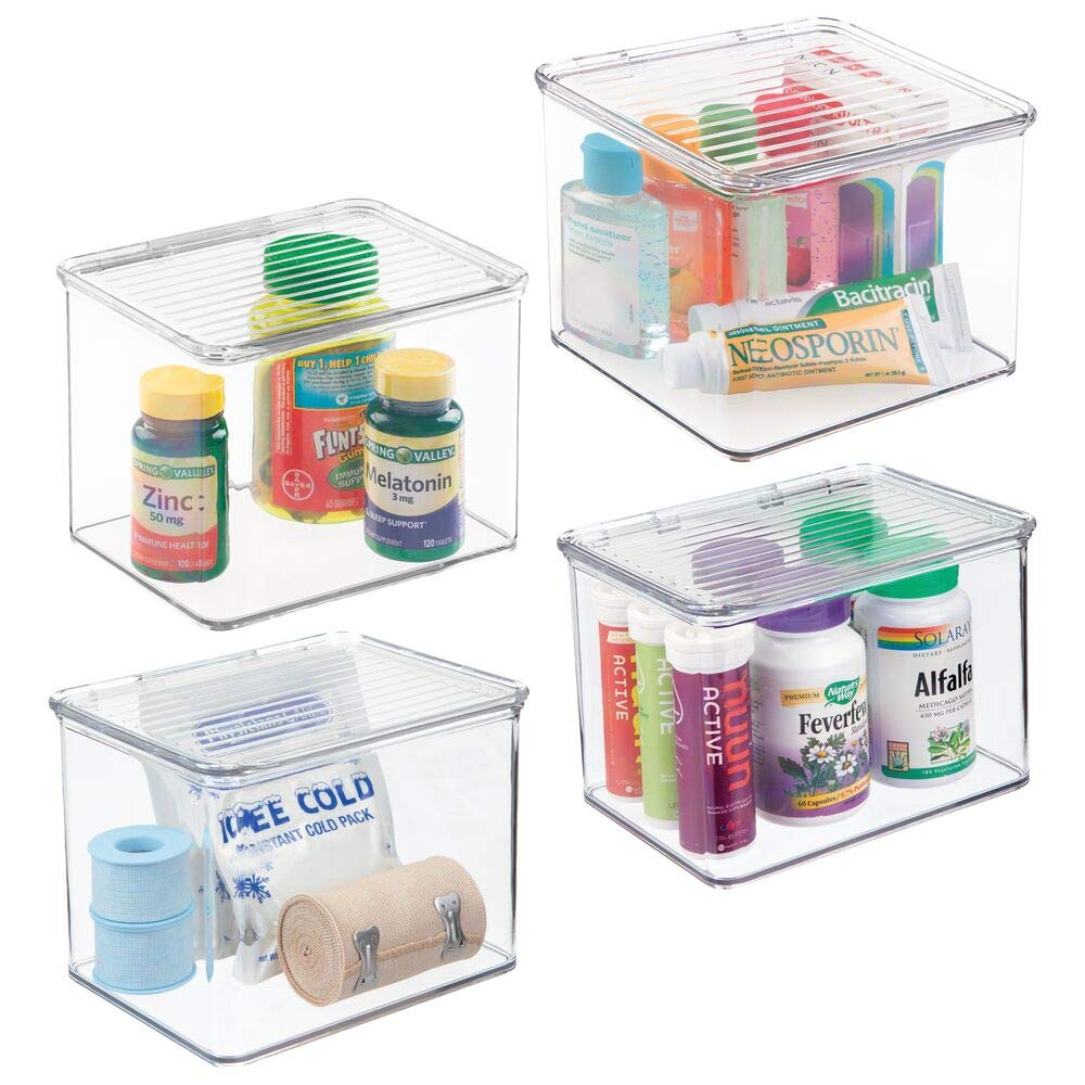 mDesign Stackable Plastic Storage Bin Box with Hinged Lid Organizer for  Vitamins, Supplements, Serums, Essential Oils, Medicine Pill Bottles,  Adhesive