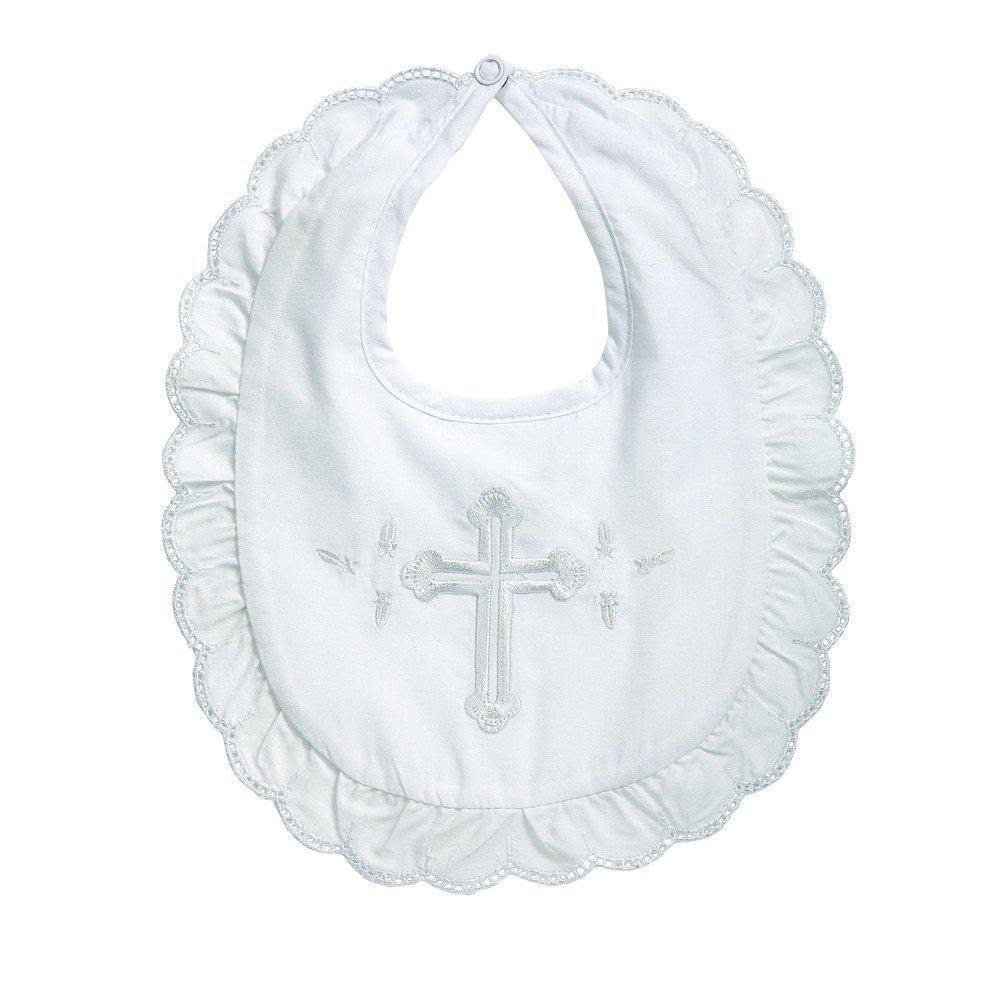 Elegant Baby Premium Embroidered Christening Baptism Girl's Bib 17162