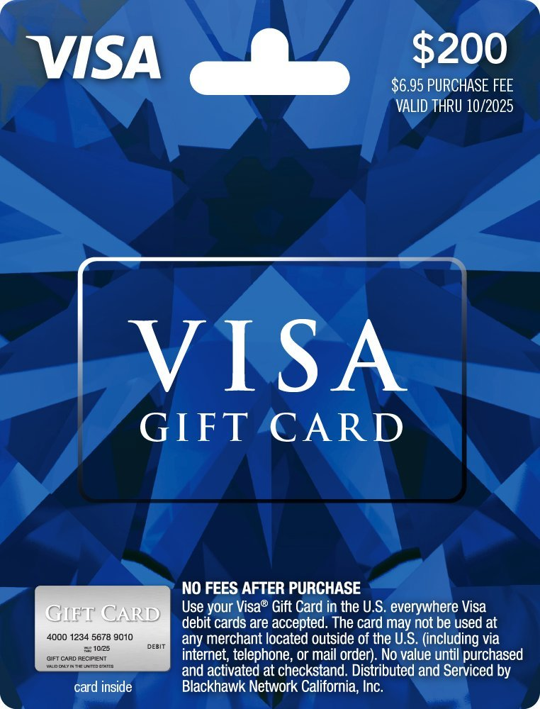 amazoncom 200 visa gift card plus 695 purchase fee gift cards - Visa Gift Card