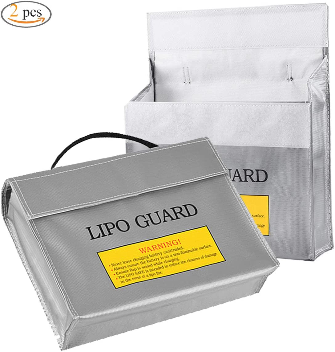 Lipo Battery Guard Bag,Xiuyer 2 Pcs Fireproof Explosionproof Lipo Safety Pouches Lithium Battery Bag for Charging Protection Storage 240x65x180mm, Silver
