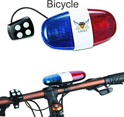 6 LED 4 Sounds Bicycle Horn Bell Police Car Light Siren Sound Trumpet NEW