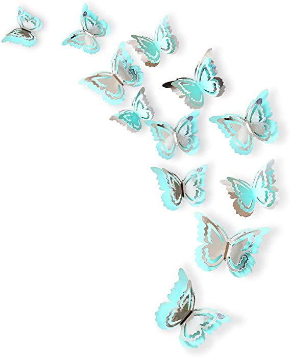 pinkblume Silver and Blue 3D Butterfly Decorations Man Made Removable Butterfly Wall Stickers Decals Mural for Livingroom Kids Girls Bedroom Nursery Party Decor (27Set).