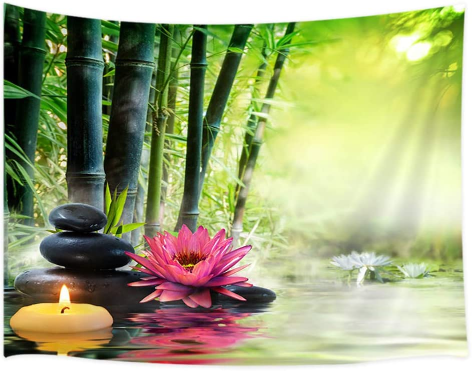 Japanese Garden View Tapestry Wall Hanging, Spa Water Lotus Flower Zen Stone Relaxation Bamboos Candles, Home Decor Tapestries Wall Blanket For Bedroom Living Room Dorm 60X40 Inches, Green Red Black