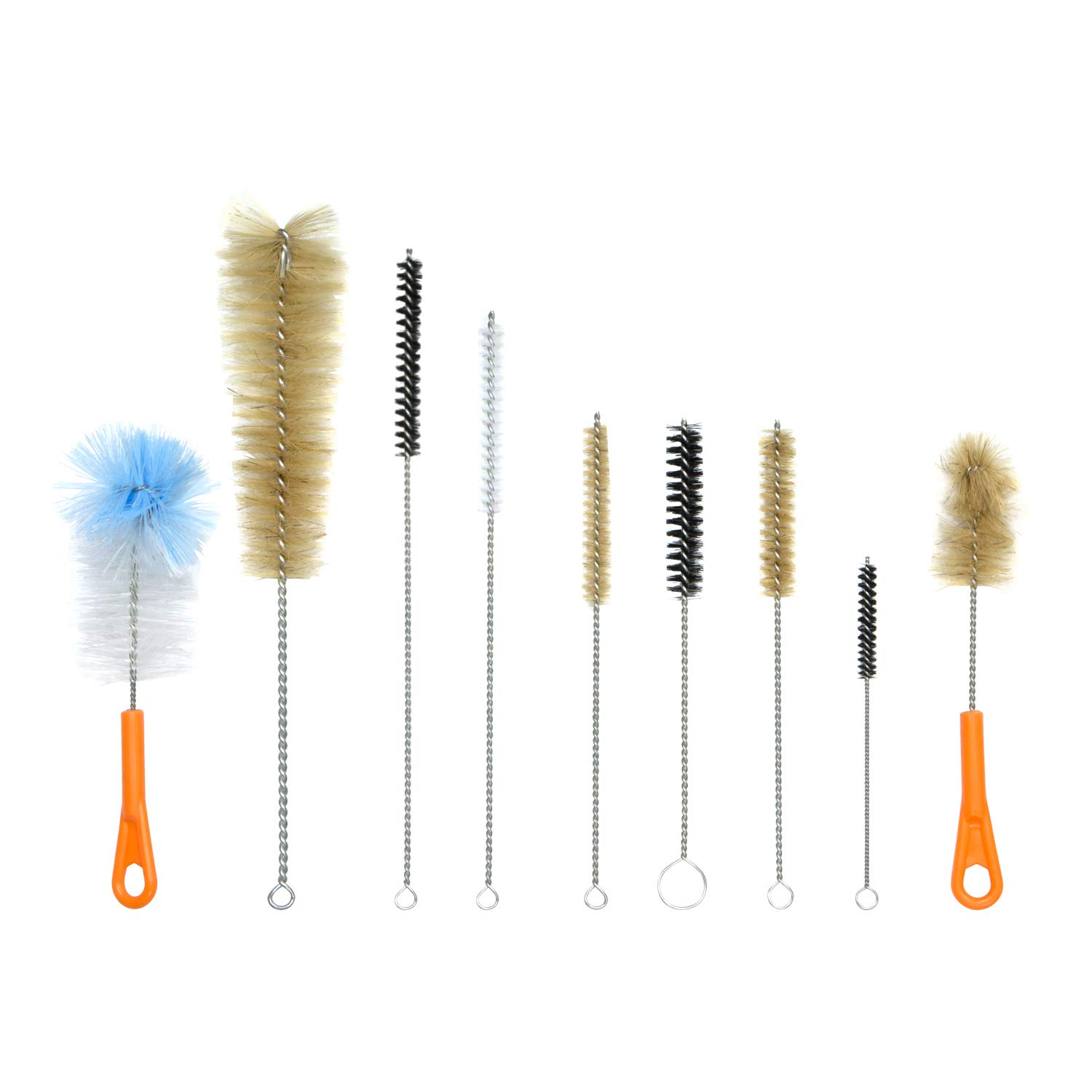 Houseables Bottle Brush, Pipe Cleaning Kit, Bong Brushes, Water Bubbler, Hose Tips Cleaner, 9 Pieces, Nylon, Natural & Synthetic Bristles, Small, Long, Scrubber for Tubes, Straws, Canning Jars BB9-OL-11IN