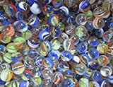 """Unique & Custom {1/2'' Inch} 2 Pounds Of Small """"Round"""" Clear Marbles Made of Glass for Filling Vases, Games & Decor w/ Fun Retro Rainbow Cat's Eye Design [Blue, White, Green & Orange Colors]"""