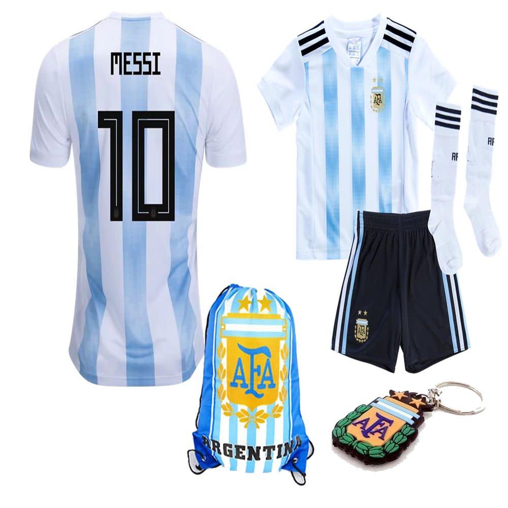 99c8bed71cc Amazon.com : Argentina World Cup 2018 18 Kid Youth Replica L. Messi Jersey  Kit : Shirt, Short, Socks, Bag, PVC Key : Sports & Outdoors