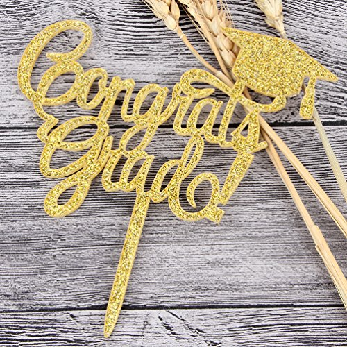 INNORU Congrats Grad Cake Topper - Class of 2018 Graduate Party Decorations Supplies - High School Graduation, College Graduate Cake Topper (Glitter Gold) by INNORU (Image #2)