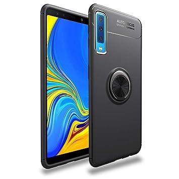 LAGUI Funda Adecuado para Samsung Galaxy A50, Soporte de Montaje Magnético del Coche Carcasa Especial, con Anilla Posterior, Pistola Color+Negro
