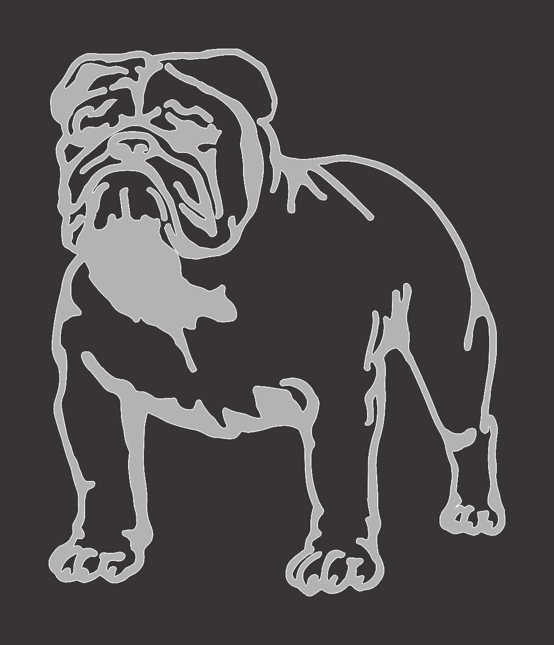 Silver Gray Metallic Bulldog - Die Cut Vinyl Window Decal/Sticker for Car/Truck Barking Sand Designs 69-495