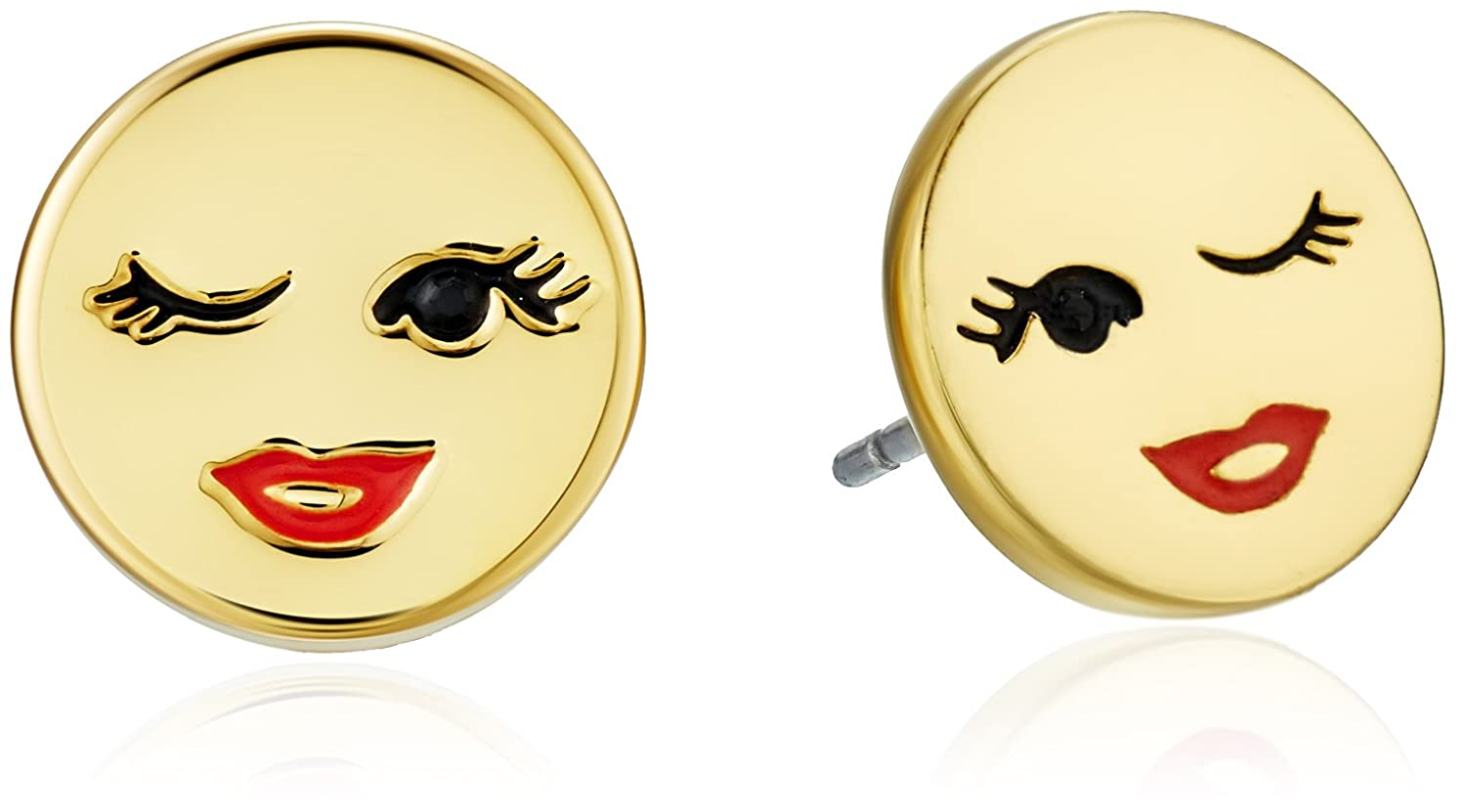 us set gold plated earrings icing emoji stud