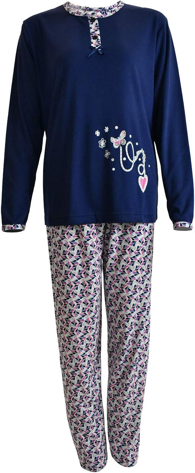Mini kitten - Pijama de Mujer de Algodón Calido de Conjuntos Largo para Invierno de Estampado y Pantalon Estampado: Amazon.es: Ropa y accesorios