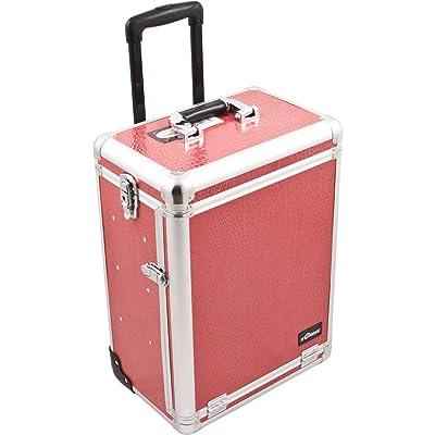Sunrise Barcaroli Heavy Duty Rolling Makeup Case Professional Nail Travel Organizer Box, Hot Pink Crocodile, 16 Pound