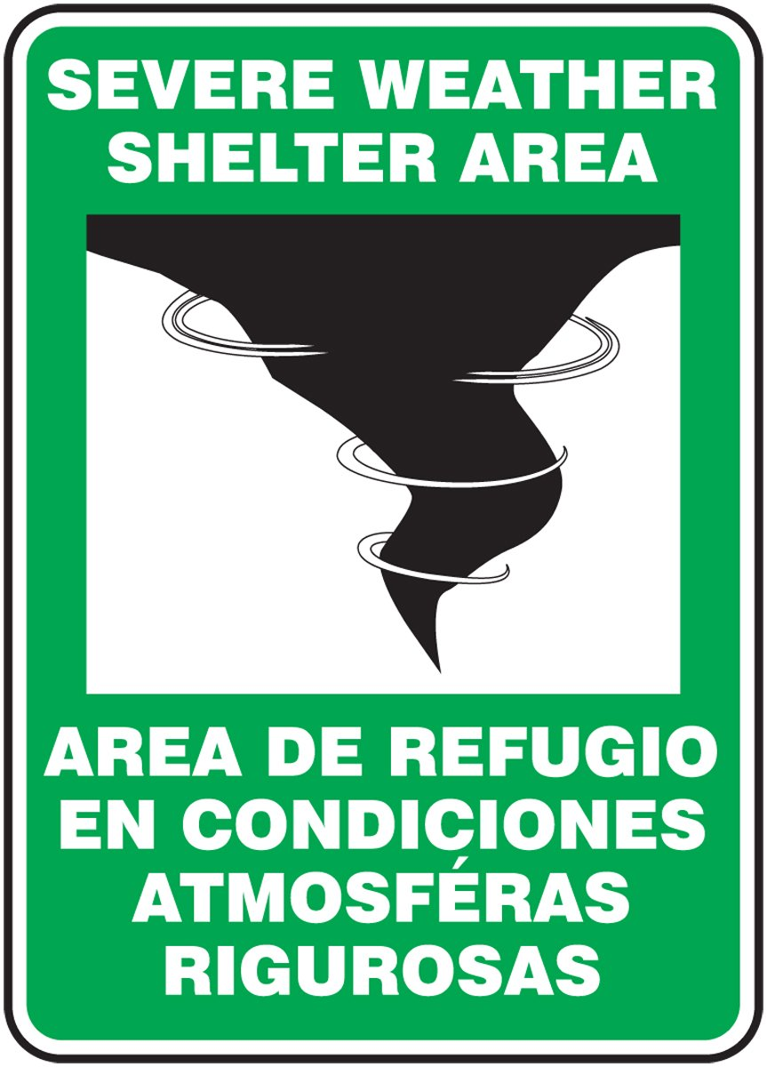 14 Length x 10 Width x 0.055 Thickness White//Black on Green Legend SEVERE WEATHER SHELTER AREA//AREA DE REFUGIO EN CONDICIONES ATMOSFERAS RIGUROSAS with Graphic Accuform SBMFEX524VP Plastic Spanish Bilingual Safety Sign