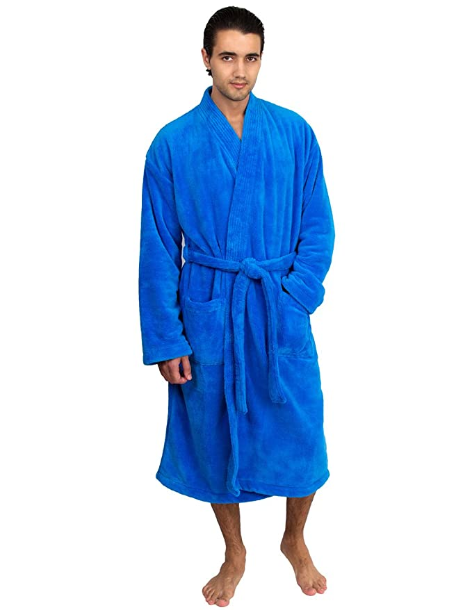 TowelSelections Super Soft Plush Kimono Bathrobe Fleece Spa Robe for Men Large/X-Large French Blue