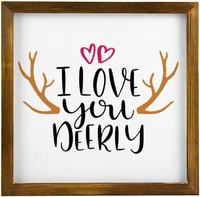 DONL9BAUER I Love You Deerly Framed Wooden Sign,Inspirational Quote,Valentines Day Wood Wall Decor Sign, Farmhouse Wooden Plaque Art for Home,Gardens, Porch, Gallery Wall, Coffee Shops.