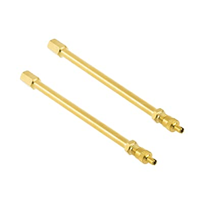 Bluecell Pack of 2 Brass Heavy Duty Straight Valve Stem Extension with Core Remover Head for Truck Bus Trailer (140mm): Automotive