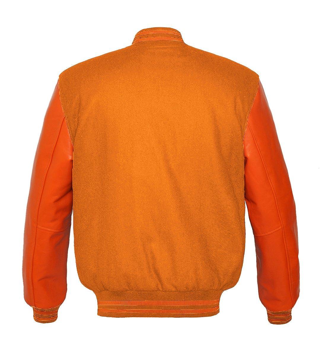 luvsecretlingerie Superb Genuine Orange Leather Sleeve Letterman College Varsity Kid Wool Jackets