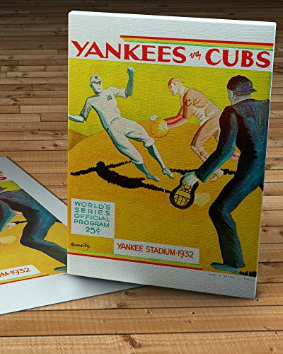 (1932 Vintage New York Yankees - Chicago Cubs World Series Program - Canvas Gallery Wrap - 12 x 16)