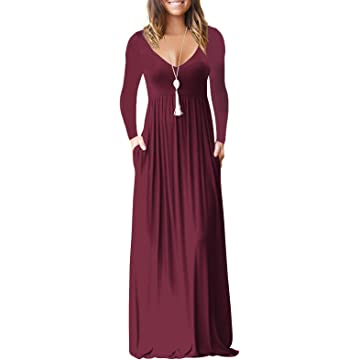 MELANSAY Maxi Dress for Women, Deep V Neck Womens Long Sleeve Loose Plain Long Maxi Casual Dresses Pockets