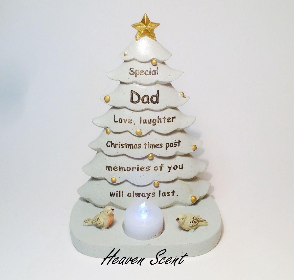 Dad Christmas Tree Graveside Memorial ornament Robin, Flickering ...