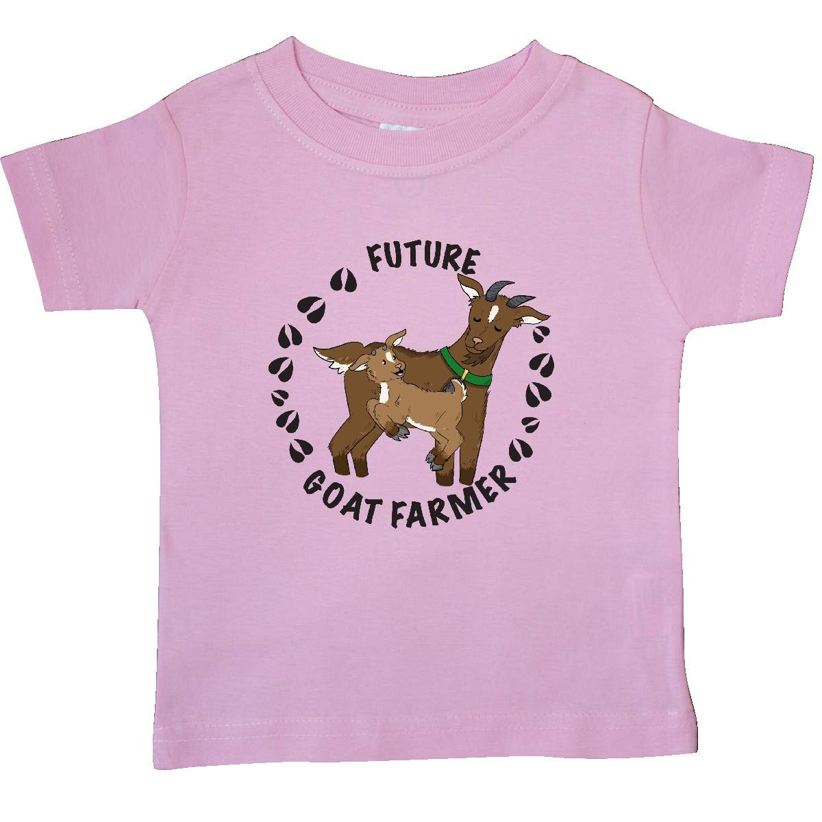 inktastic Future Goat Farmer with Cute Goats and Hoof Prints Baby T-Shirt
