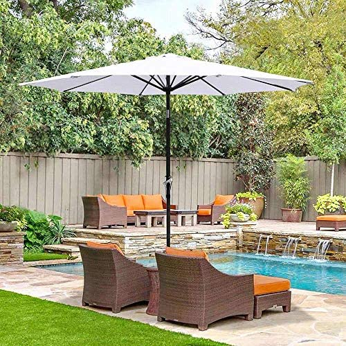 2.7m 8リブUV30 +ガーデンパラソルパティオ傘キャノピーチルトクランクハンドル屋外傘ラウンドホワイト屋外パラソル パラソル