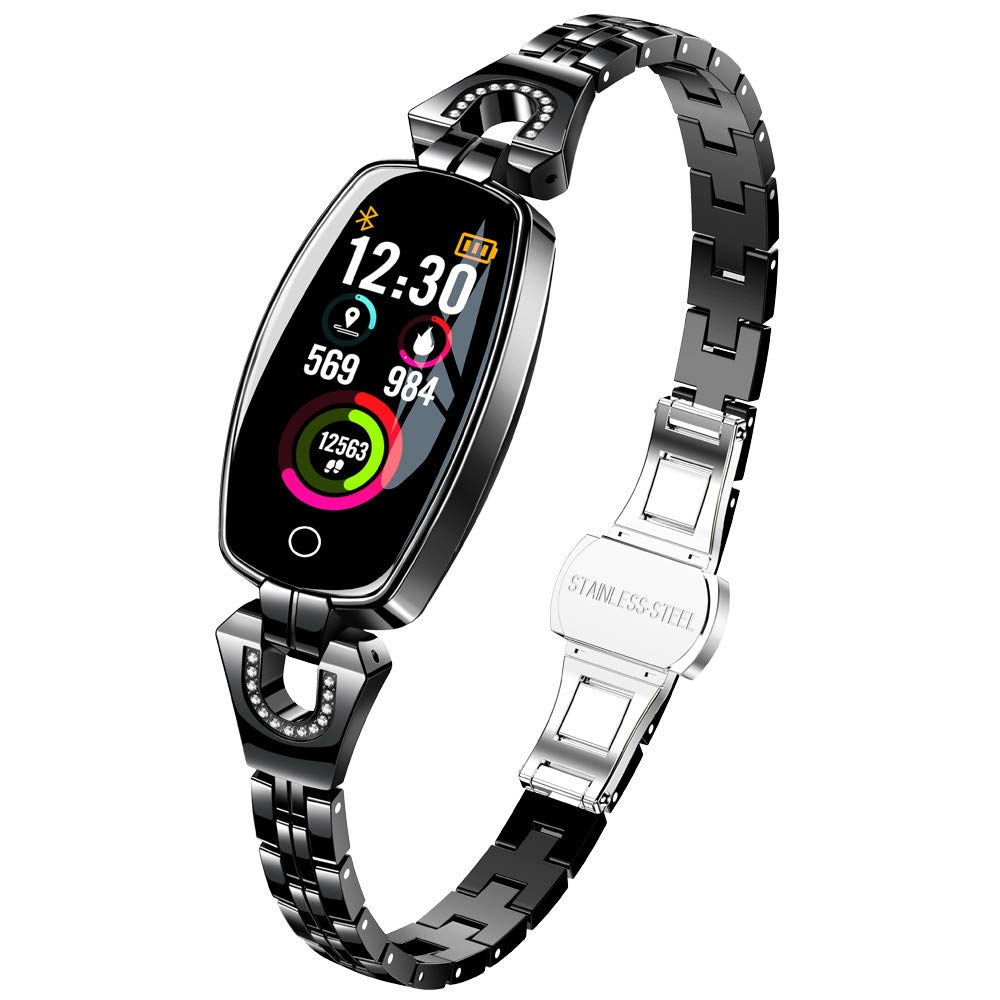 Boens Fitenss Band,Shiny Fashion Smart Watch Elliptical LED Display Sports Band with Pedometer Calorie Burning Sleeping Heart Rate Monitor Blood Pressur Fits Travel Photo Office Exercise(Black)