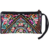 Sanwood Women's Retro Ethnic Embroider Purse Wallet Phone Bag (Butterfly Flower)