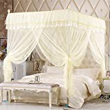 Royal- European Style Square Top Mosquito Net Three-door Encryption Thickening Single Double Bed Stainless Steel Bracket Beige ( Color : 25mm , Size : 2.0m (6.6 feet) bed )