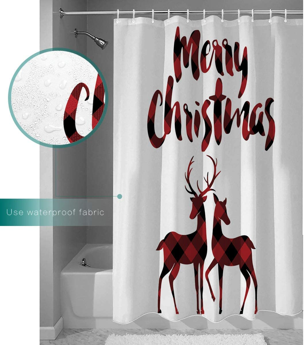 Shower Curtain Sets for Bathroom-Merry Christams Red Black Buffalo Plaid Snowman,Waterproof Polyester Fabric Decorative Bath Curtain with Hooks for Bathroom Bathtubs 72 Inches