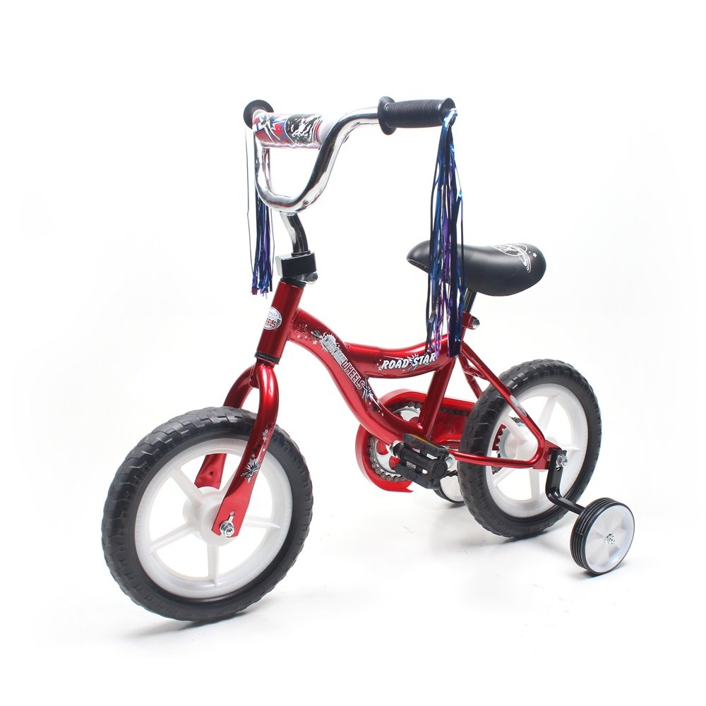 ChromeWheels BMX 12'' Kid's Bike for 2-4 Years Old, Bicycle for Boys, EVA Tires with Training Wheels & Coaster Brake, Color Red