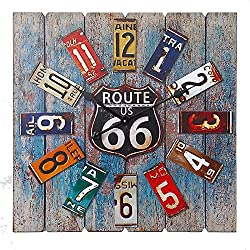 Essential Décor Entrada Collection Square Route 66 Clock, 23.6 by 1.9 by 23.6-Inch