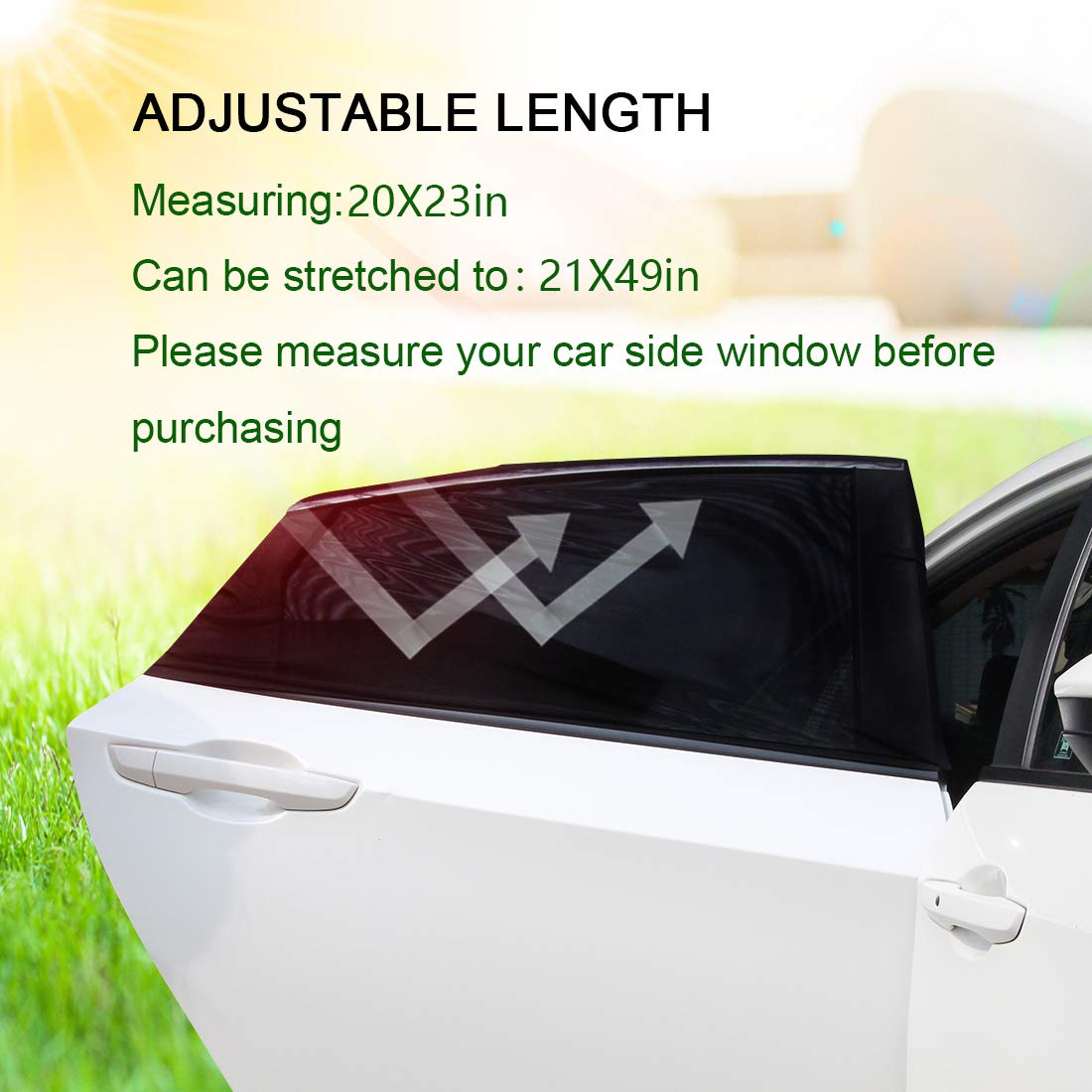 XL Side Rear Window Sun Shade Stronger Stretchability 2Pack Rear Sunshade 2X Car Sun Window Shade Anti-Glare and UV Rays Protection for Baby Kids Adult SUV Minivans and Large Sedans Car Camping