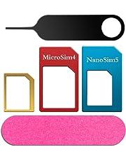 Sim Karten Adapter 5 in 1 Nano Micro Standard Sim Karten Adapter Kit Konverter mit Schleifpapier und Werkzeug