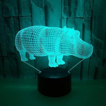 BFMBCHDJ Hipopótamo creativo Luz nocturna 3D Usb colorido Luz ...