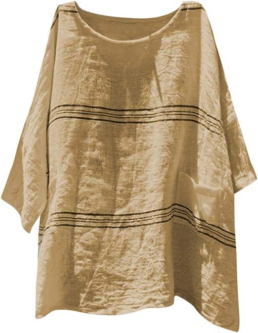 Darringls Blusa y Camisa Mujer,Camisetas Imprimir Rayas Blusa Talla Grande Algodón de Lino Chaleco Casual Manga Corta: Amazon.es: Hogar
