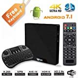 W95 4K Android 7.1 TV Box, 2019 Model C Smart TV Box, Amlogic S905W Quad-Core, 1GB RAM & 8GB ROM, 4K Ultra HD, H.265/WiFi 2.4GHz, Support HDMI and AV Output with Remote Control+ Mini Backlit Keyboard