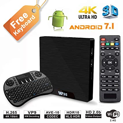 W95 4K Android 7 1 TV Box, 2019 Model C Smart TV Box, Amlogic S905W  Quad-Core, 1GB RAM & 8GB ROM, 4K Ultra HD, H 265/WiFi 2 4GHz, Support HDMI  and AV