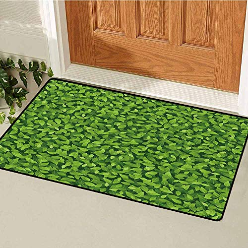 (GloriaJohnson Green Front Door mat Carpet Fresh Leafage Foliage Botanical Natural Growth Rainforest Eco Environment Machine Washable Door mat W23.6 x L35.4 Inch Lime Green Fern Green)