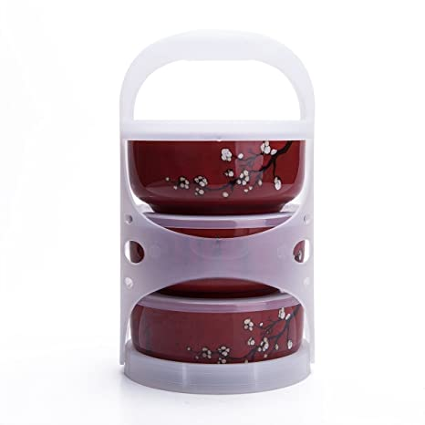 4a732d02d2ce Set Of 3 Ceramic Lunch Bento Boxes / Food Carrier / Food Storage &  Organization Container With Lid Burgandy Plum Blossom