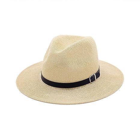 HhGold Sombrero de Paja con Sombrero de Paja para Mujer Sombrero de Jazz Sombrero  de Sol 8bef446fc14