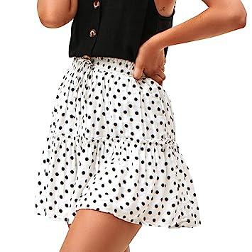 LeeMon Basic Solid - Falda para mujer, diseño de lunares ...